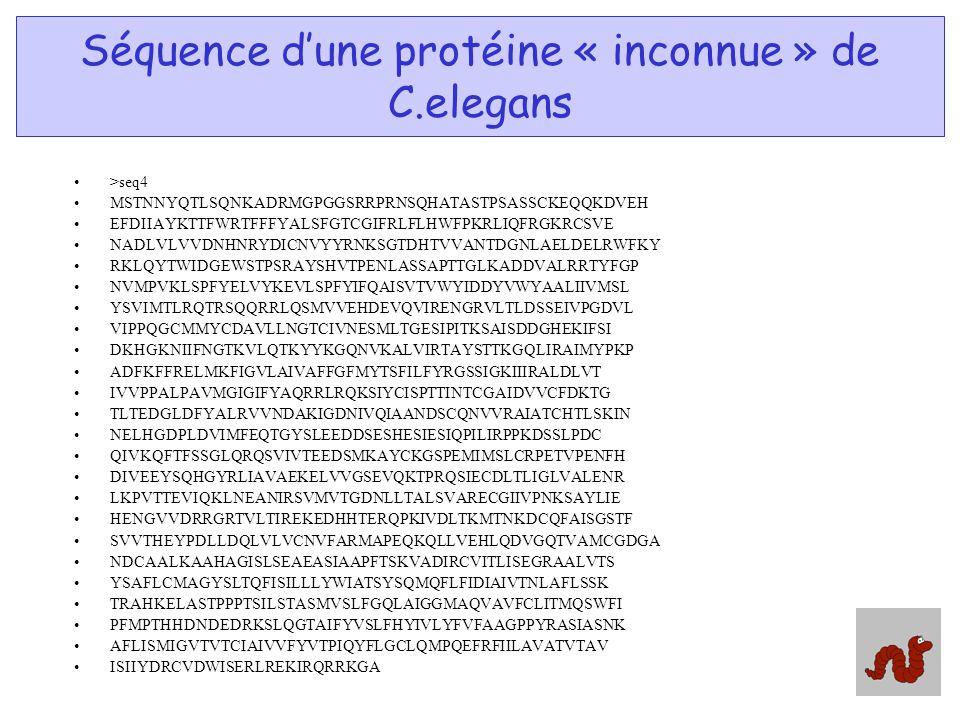 Séquence d'une protéine « inconnue » de C.elegans