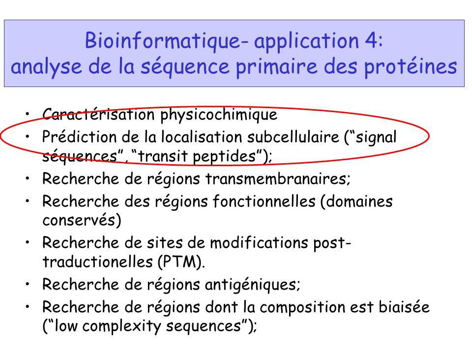 Bioinformatique- application 4: analyse de la séquence primaire des protéines