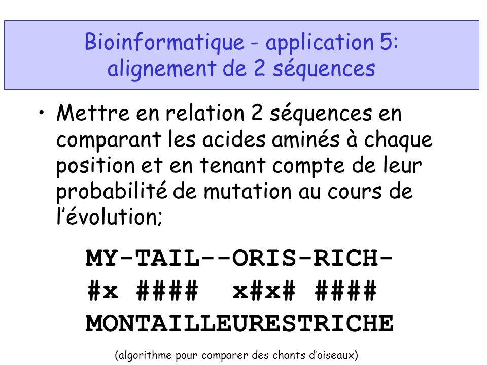 Bioinformatique - application 5: alignement de 2 séquences