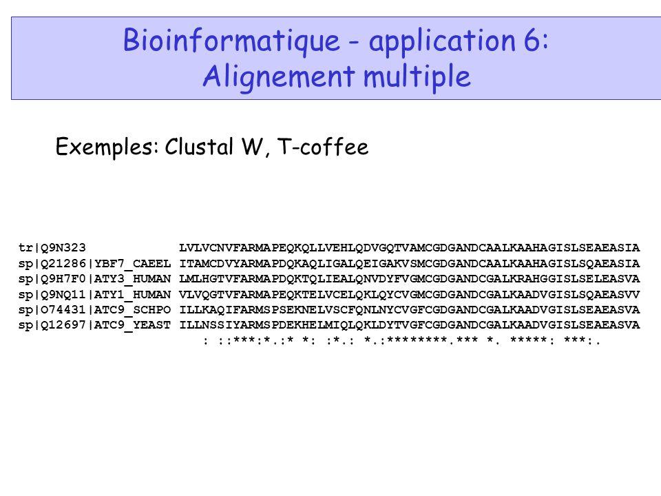 Bioinformatique - application 6: Alignement multiple