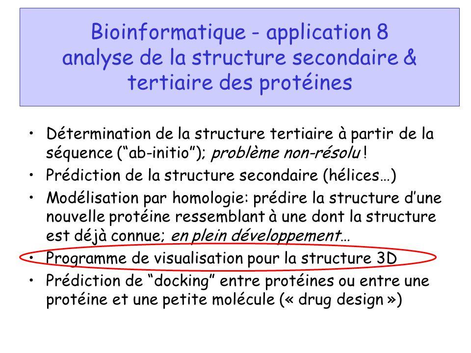 Bioinformatique - application 8 analyse de la structure secondaire & tertiaire des protéines