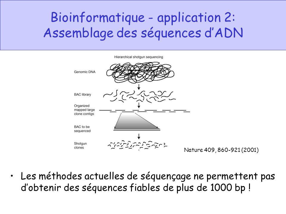 Bioinformatique - application 2: Assemblage des séquences d'ADN