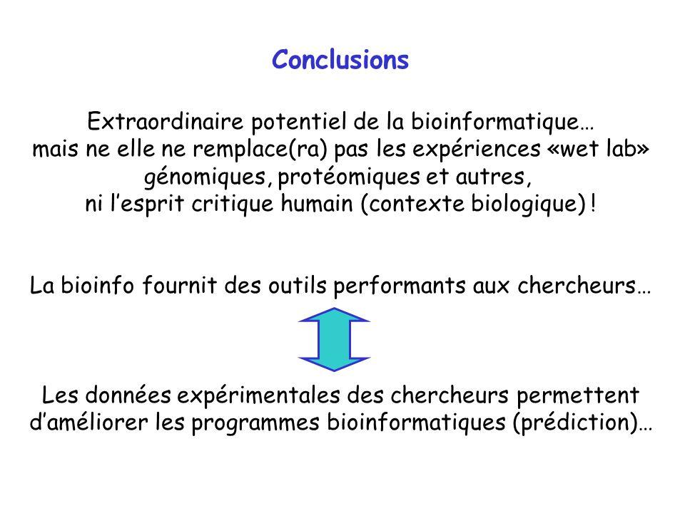 Conclusions Extraordinaire potentiel de la bioinformatique…