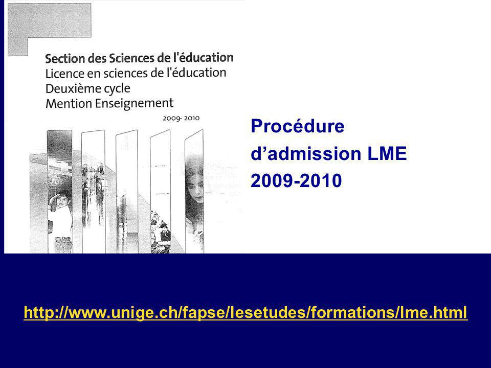 Procédure d'admission LME 2009-2010