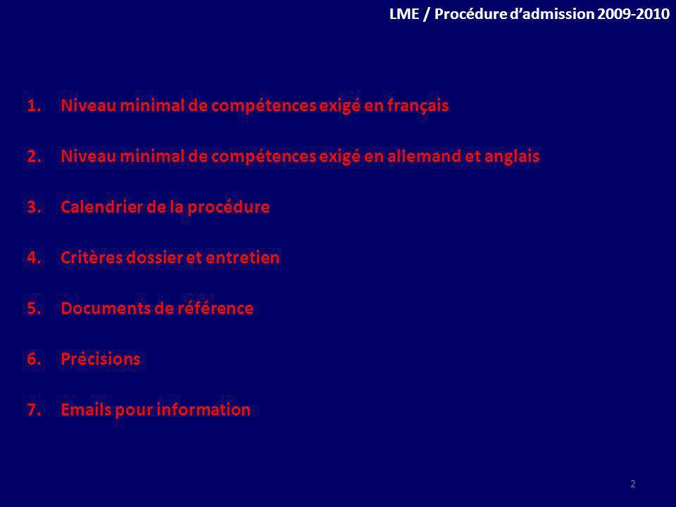 Niveau minimal de compétences exigé en français