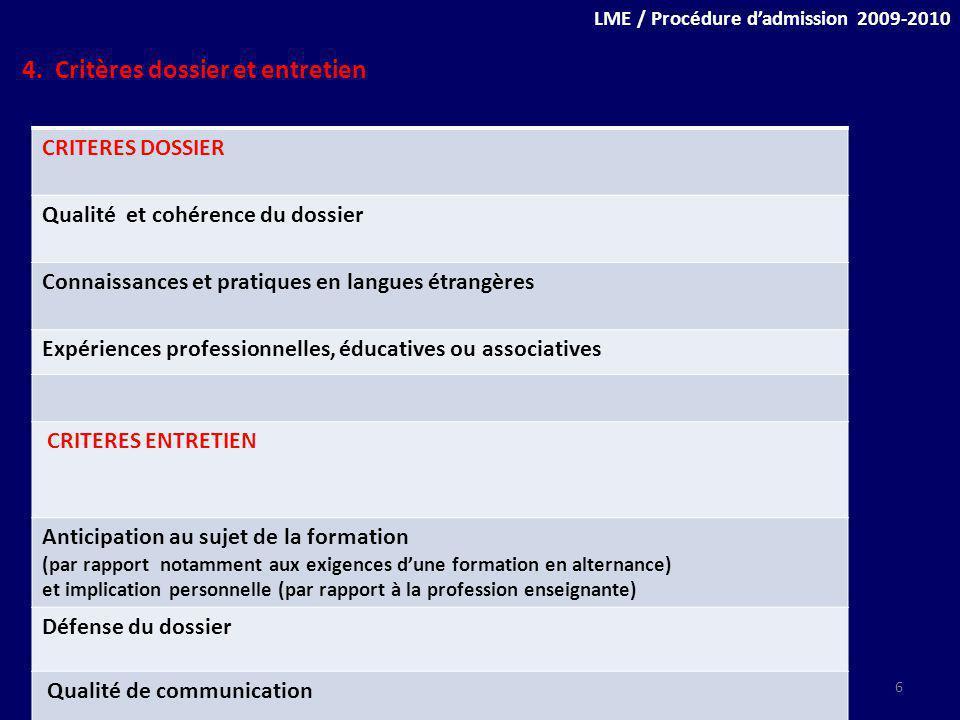 4. Critères dossier et entretien