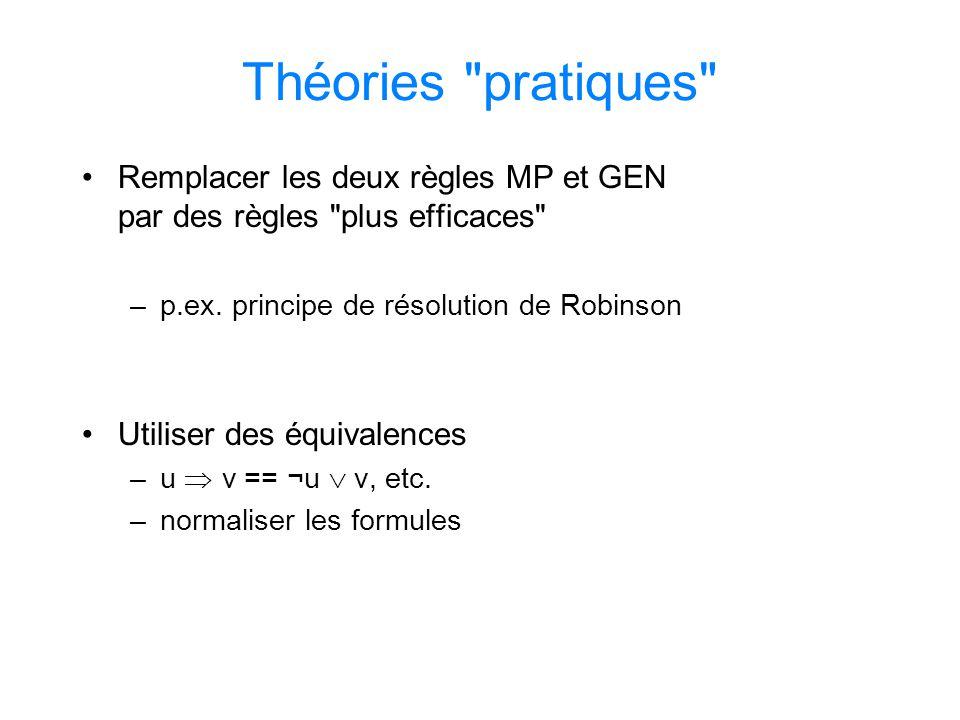 Théories pratiques Remplacer les deux règles MP et GEN par des règles plus efficaces p.ex. principe de résolution de Robinson.