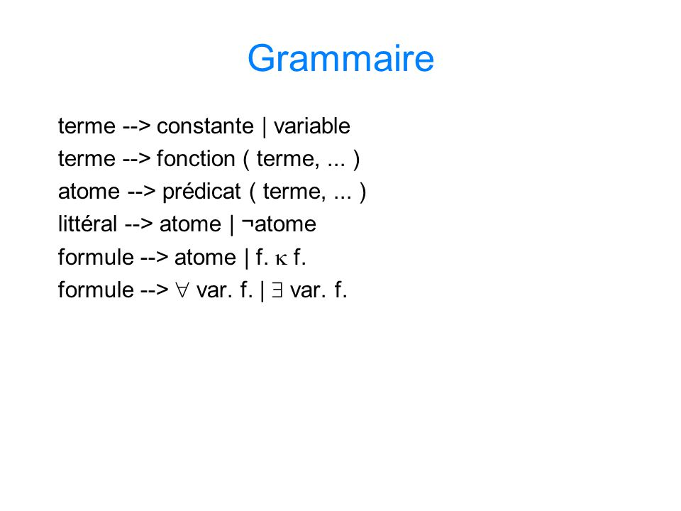 Grammaire terme --> constante | variable