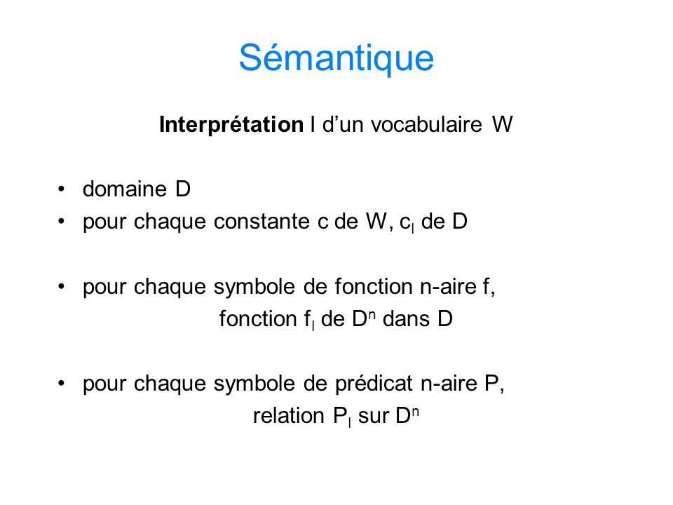 Interprétation I d'un vocabulaire W