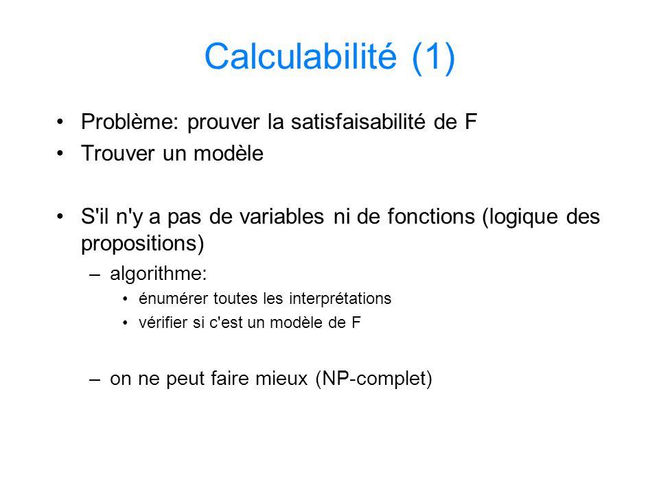 Calculabilité (1) Problème: prouver la satisfaisabilité de F