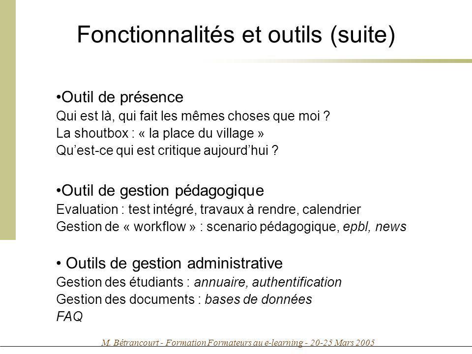 Fonctionnalités et outils (suite)