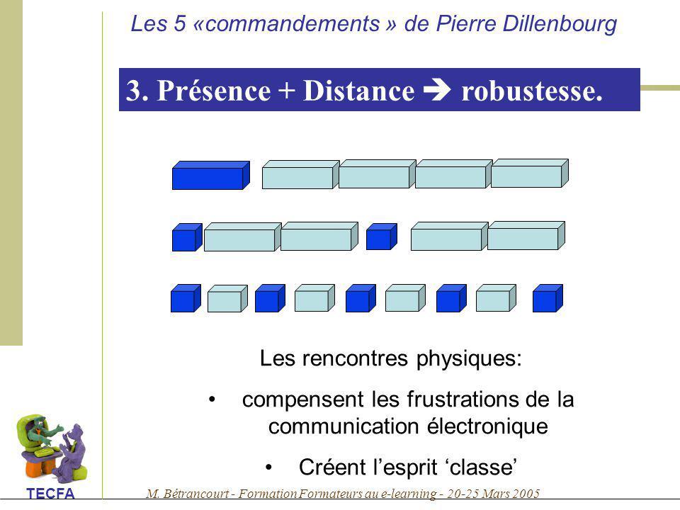 3. Présence + Distance  robustesse.