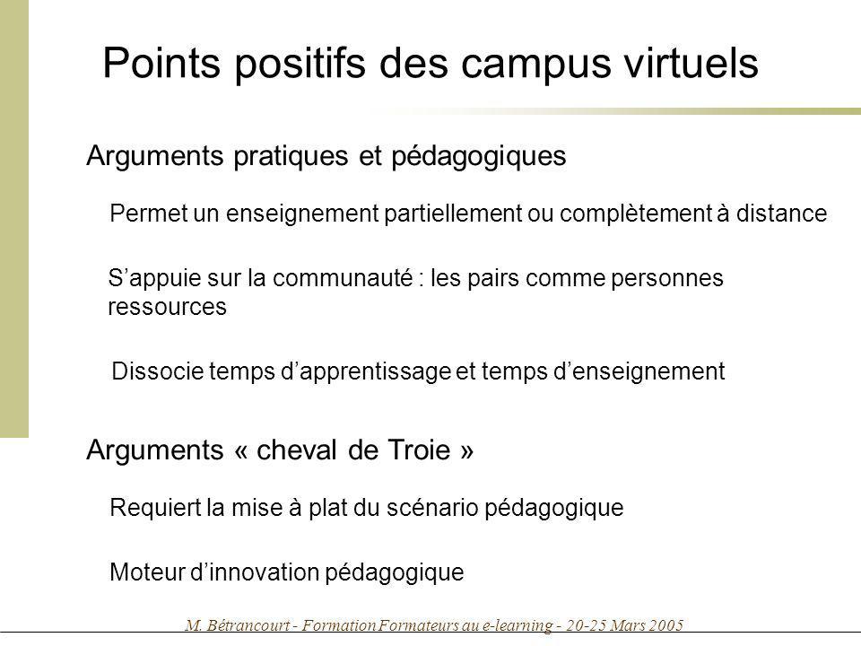 Points positifs des campus virtuels