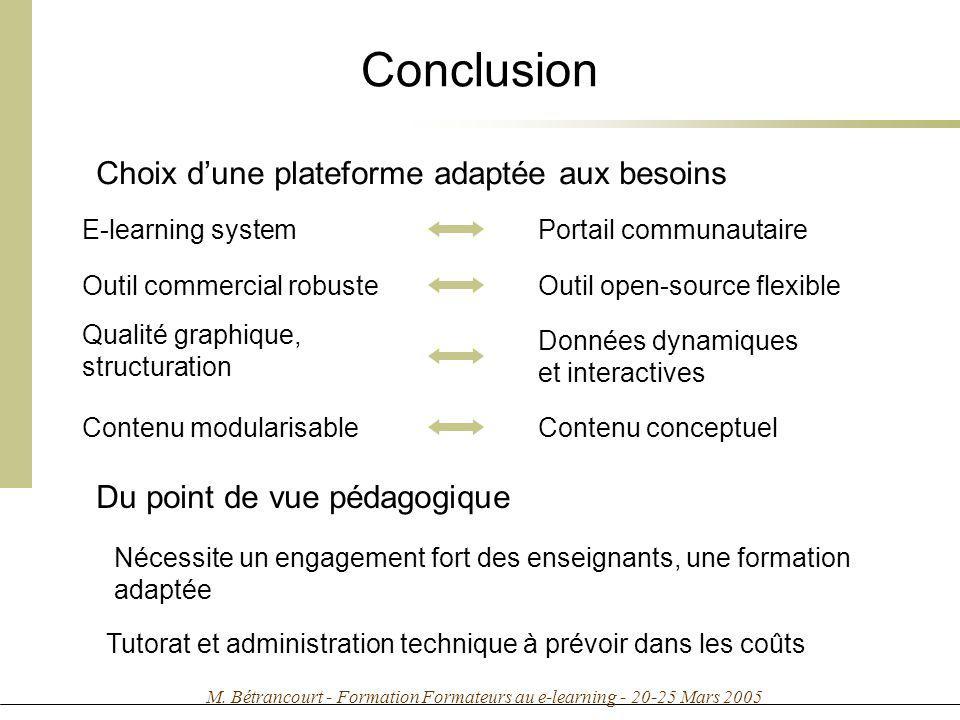 Conclusion Choix d'une plateforme adaptée aux besoins