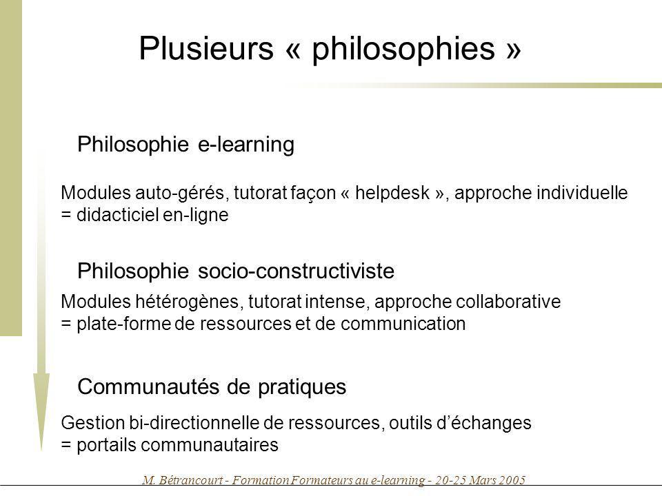 Plusieurs « philosophies »
