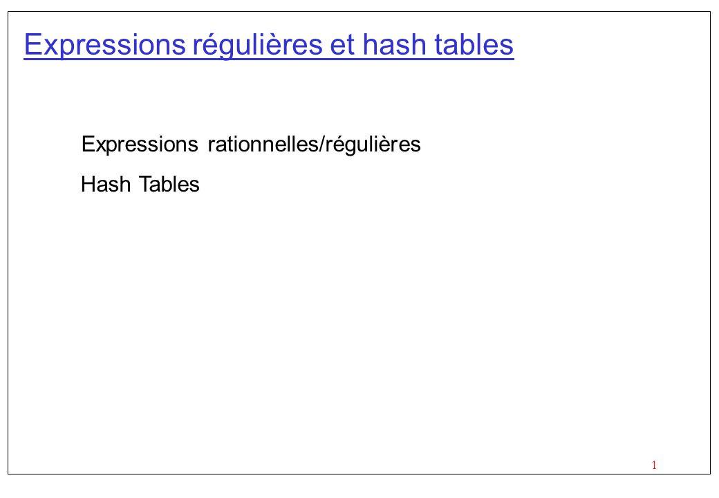 Expressions régulières et hash tables