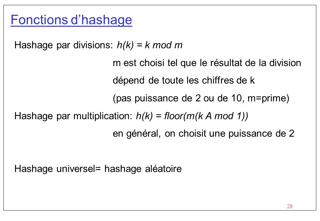 Fonctions d'hashage Hashage par divisions: h(k) = k mod m