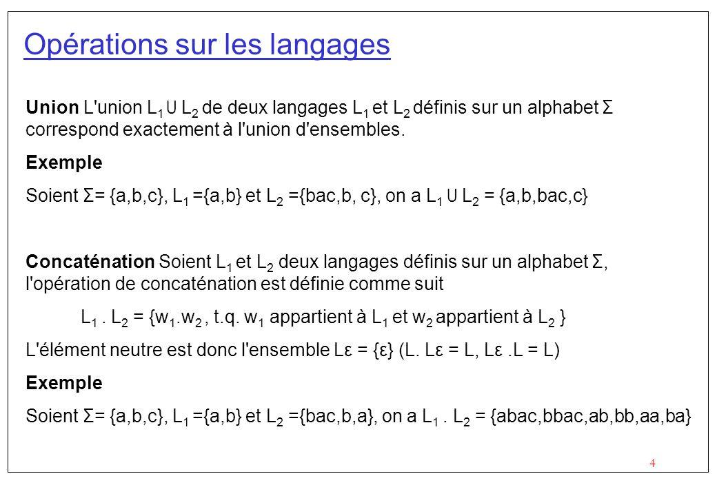 Opérations sur les langages