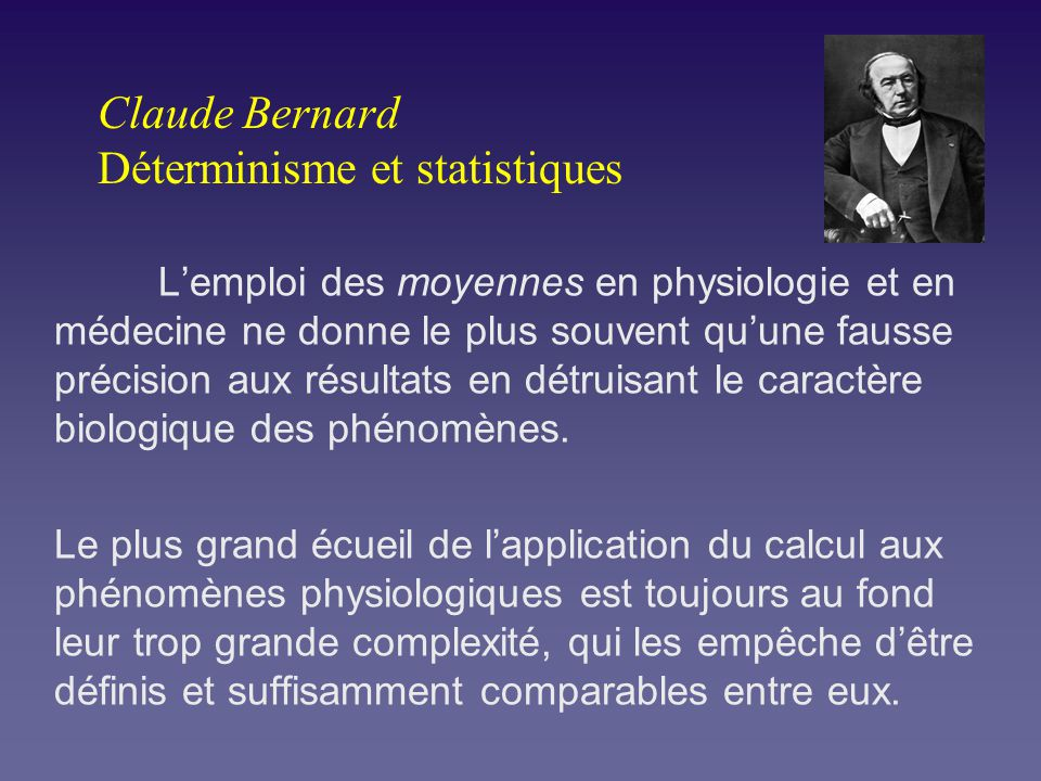 Claude Bernard Déterminisme et statistiques