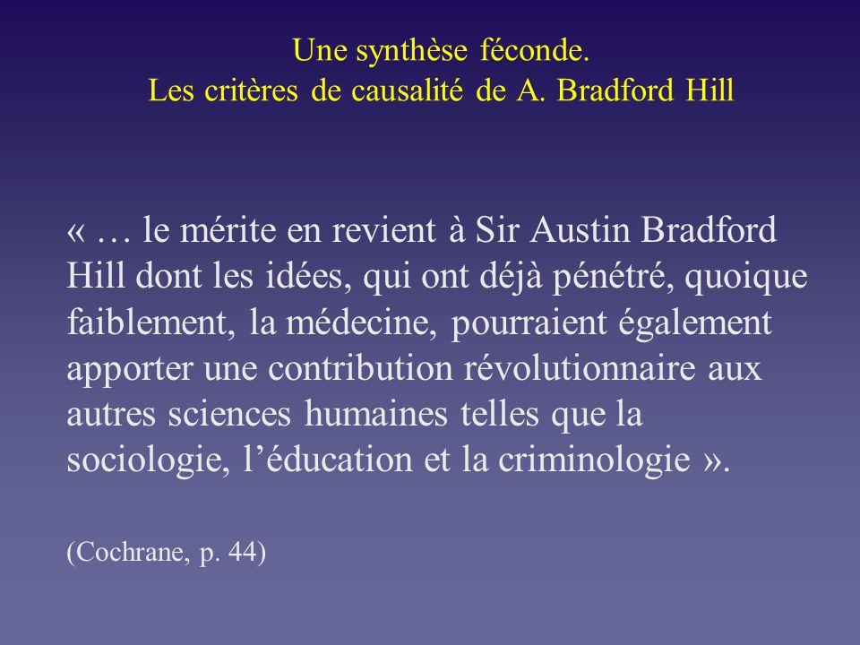 Une synthèse féconde. Les critères de causalité de A. Bradford Hill