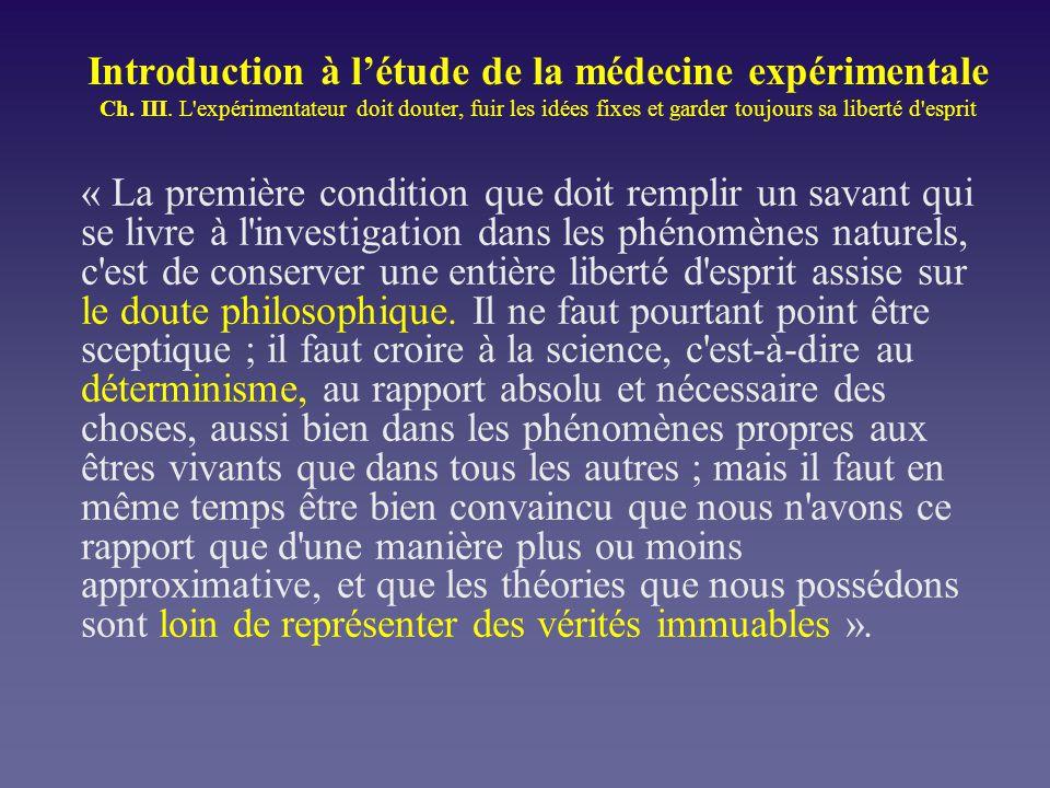 Introduction à l'étude de la médecine expérimentale Ch. III