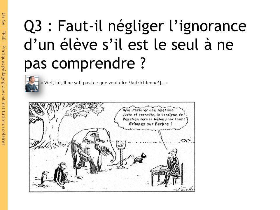 Q3 : Faut-il négliger l'ignorance d'un élève s'il est le seul à ne pas comprendre