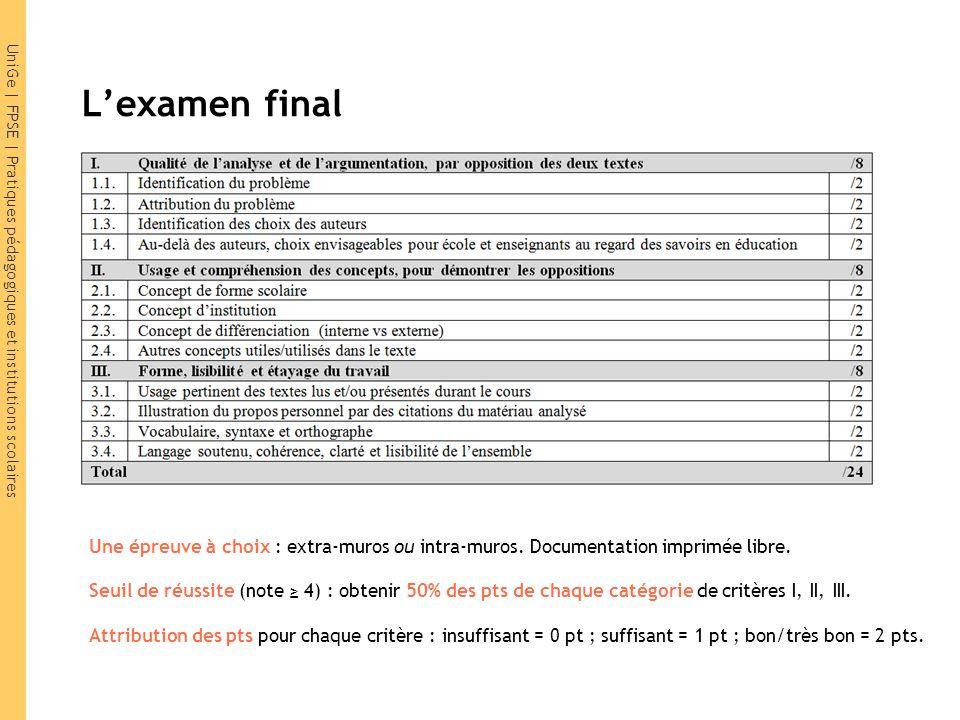 L'examen final Une épreuve à choix : extra-muros ou intra-muros. Documentation imprimée libre.