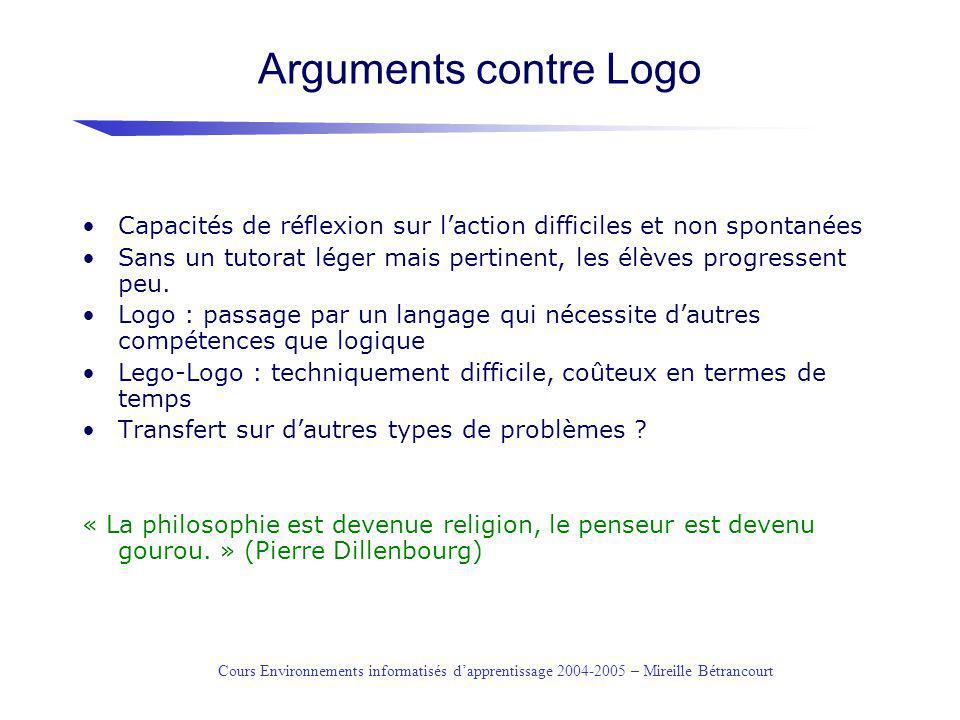 Arguments contre Logo Capacités de réflexion sur l'action difficiles et non spontanées.