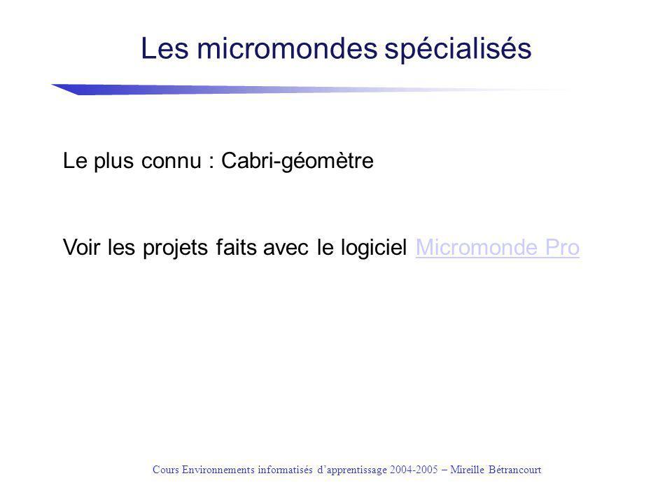 Les micromondes spécialisés