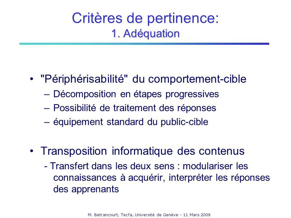 Critères de pertinence: 1. Adéquation