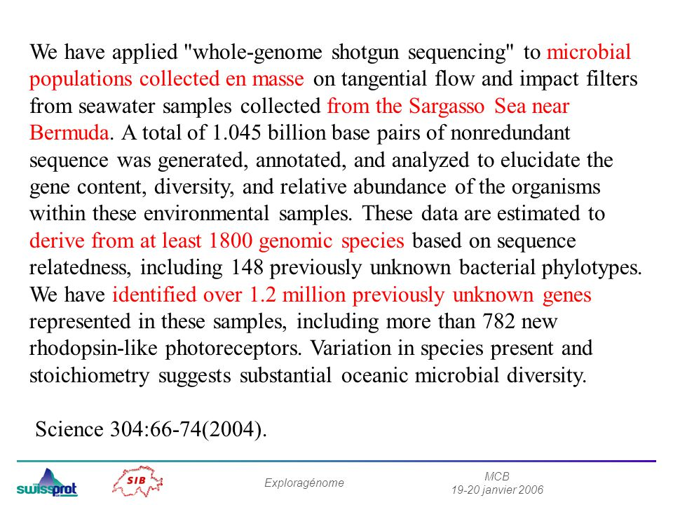 We have applied whole-genome shotgun sequencing to microbial populations collected en masse on tangential flow and impact filters from seawater samples collected from the Sargasso Sea near Bermuda. A total of 1.045 billion base pairs of nonredundant sequence was generated, annotated, and analyzed to elucidate the gene content, diversity, and relative abundance of the organisms within these environmental samples. These data are estimated to derive from at least 1800 genomic species based on sequence relatedness, including 148 previously unknown bacterial phylotypes. We have identified over 1.2 million previously unknown genes represented in these samples, including more than 782 new rhodopsin-like photoreceptors. Variation in species present and stoichiometry suggests substantial oceanic microbial diversity.