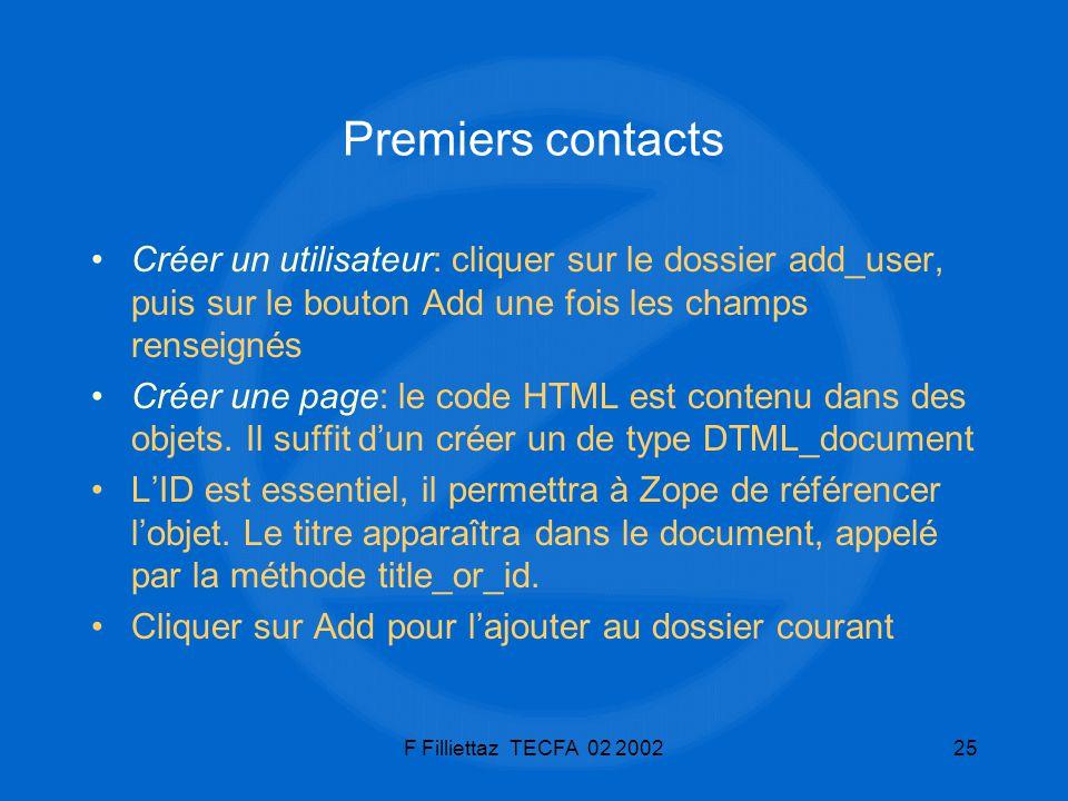 Premiers contacts Créer un utilisateur: cliquer sur le dossier add_user, puis sur le bouton Add une fois les champs renseignés.
