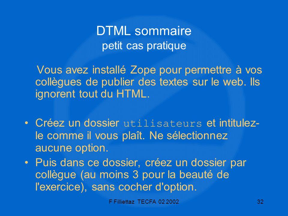 DTML sommaire petit cas pratique