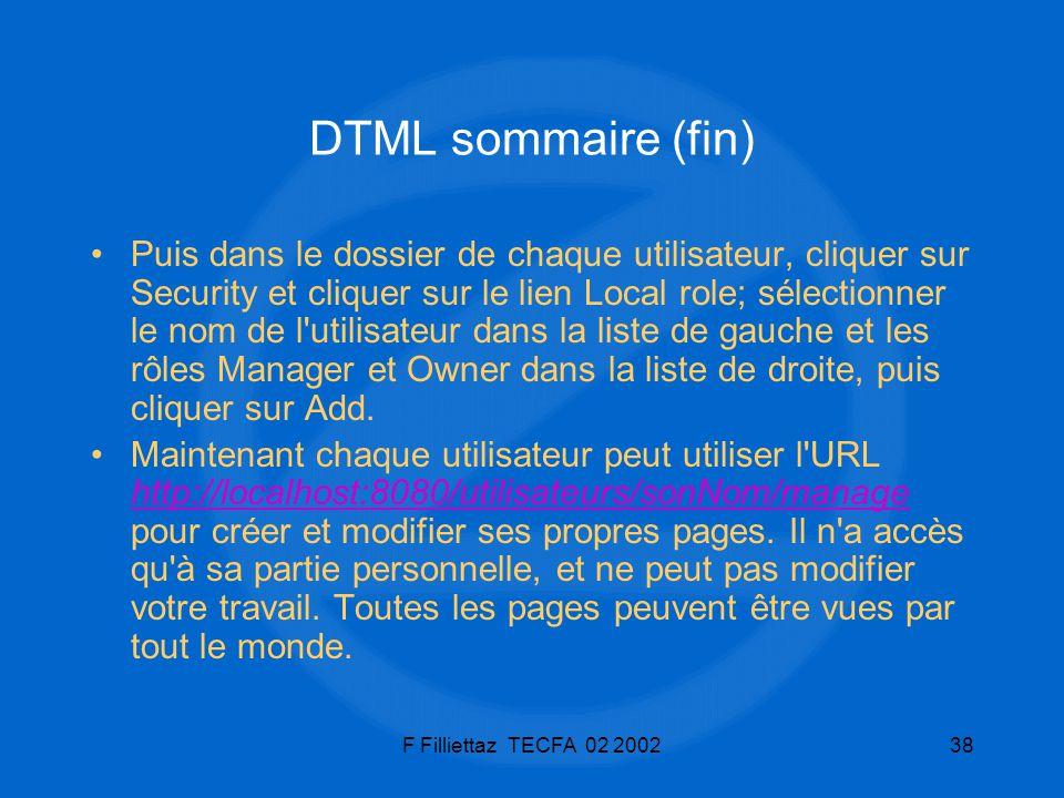 DTML sommaire (fin)