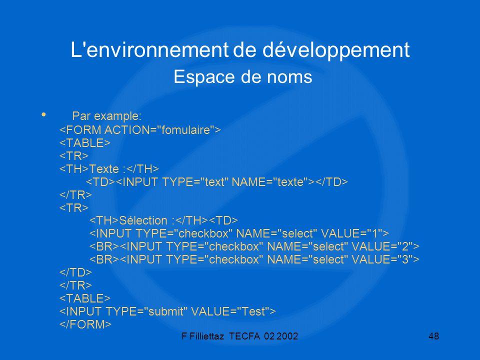 L environnement de développement Espace de noms