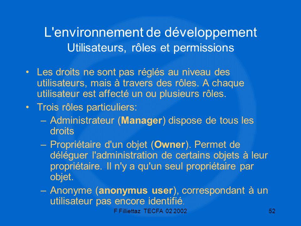 L environnement de développement Utilisateurs, rôles et permissions