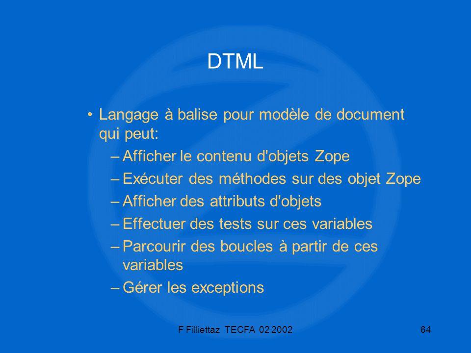 DTML Langage à balise pour modèle de document qui peut: