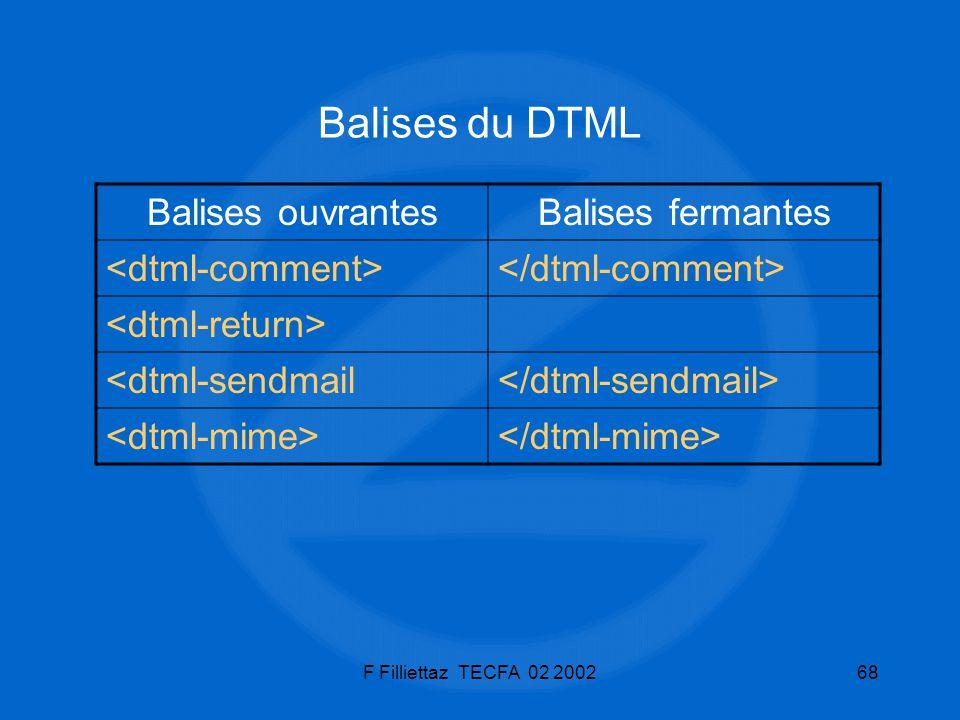 Balises du DTML Balises ouvrantes Balises fermantes