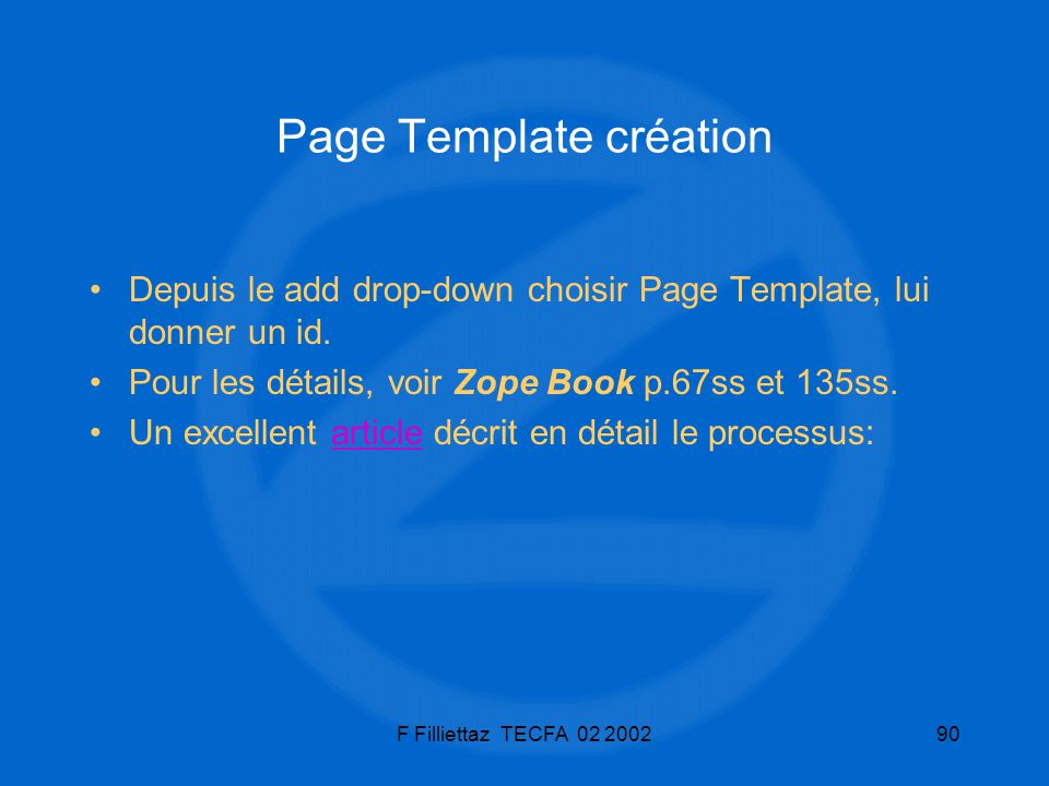 Page Template création