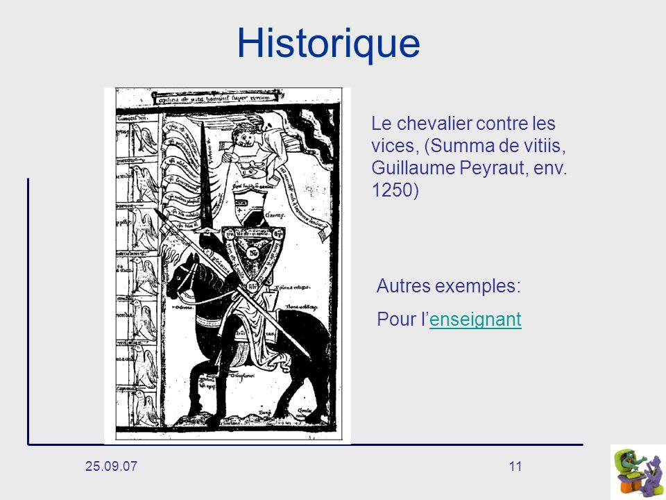 Historique Le chevalier contre les vices, (Summa de vitiis, Guillaume Peyraut, env. 1250) Autres exemples: