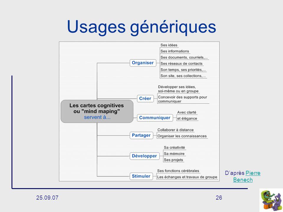 Usages génériques D'après Pierre Benech 25.09.07
