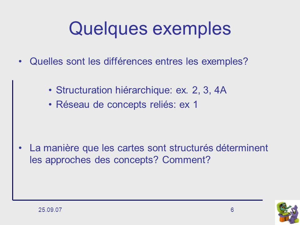 Quelques exemples Quelles sont les différences entres les exemples