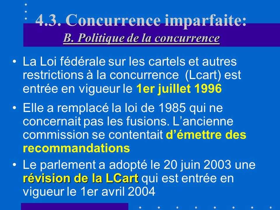 4.3. Concurrence imparfaite: B. Politique de la concurrence
