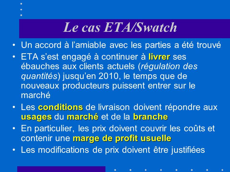 Le cas ETA/Swatch Un accord à l'amiable avec les parties a été trouvé