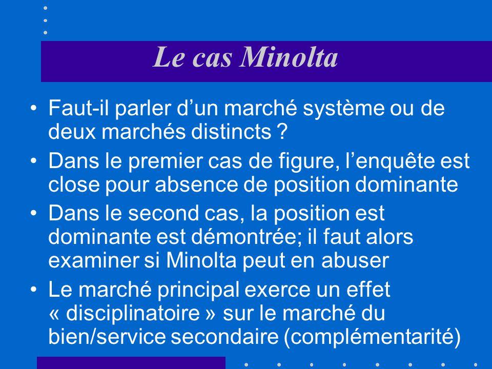 Le cas Minolta Faut-il parler d'un marché système ou de deux marchés distincts