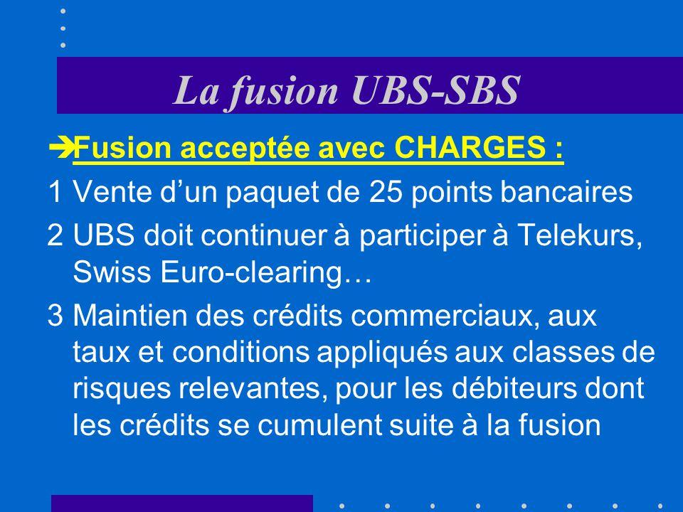 La fusion UBS-SBS Fusion acceptée avec CHARGES :