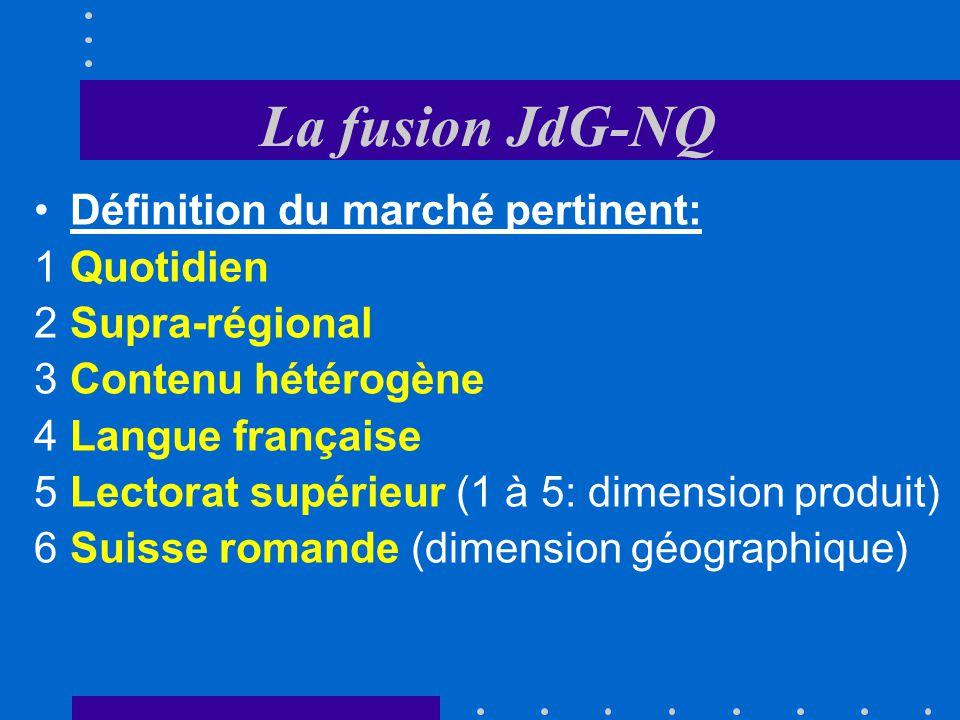 La fusion JdG-NQ Définition du marché pertinent: Quotidien