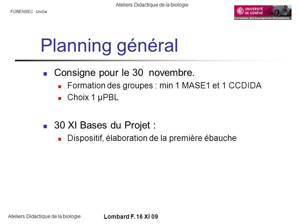 Planning général Consigne pour le 30 novembre. 30 XI Bases du Projet :