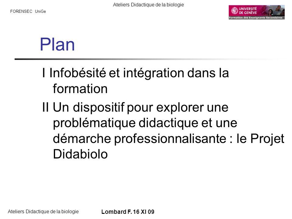 Plan I Infobésité et intégration dans la formation