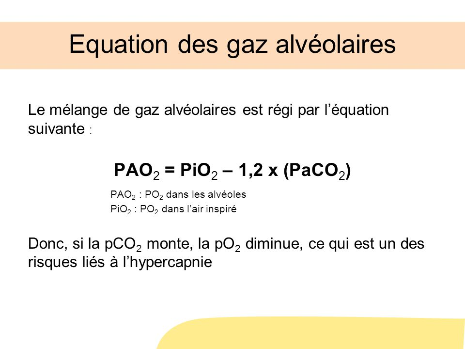 Equation des gaz alvéolaires